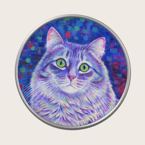 Colorful Purple Tabby Cat Candy Tin