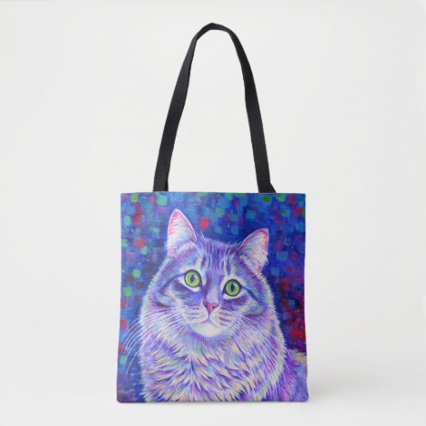 Colorful Purple Tabby Cat Cute Kitty Tote Bag