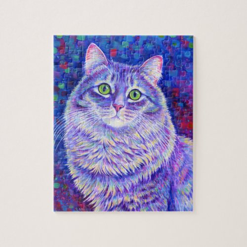 Colorful Purple Tabby Cat Puzzle