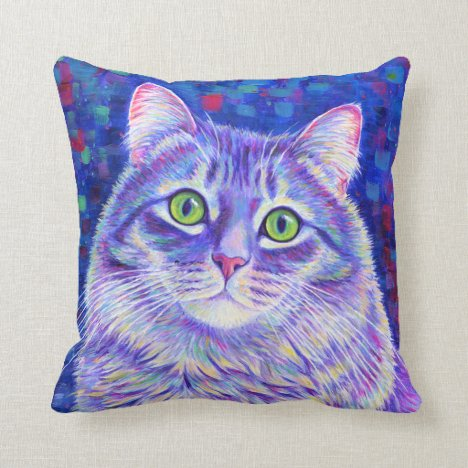 Colorful Purple Tabby Kitty Cat Throw Pillow