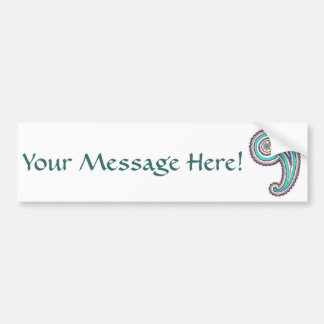 Colorful Purple Teal Floral Vintage Paisley White Bumper Sticker