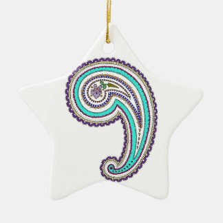 Colorful Purple Teal Floral Vintage Paisley White Ceramic Ornament