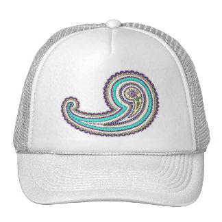 Colorful Purple Teal Floral Vintage Paisley White Trucker Hat