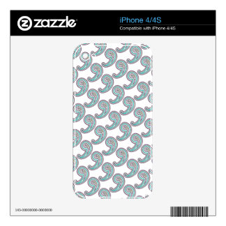 Colorful Purple Teal Floral Vintage Paisley White Decals For iPhone 4