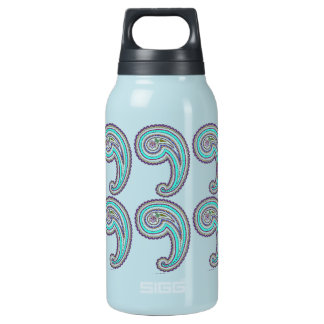 Colorful Purple Teal Vintage Paisley Grass Green Thermos Water Bottle
