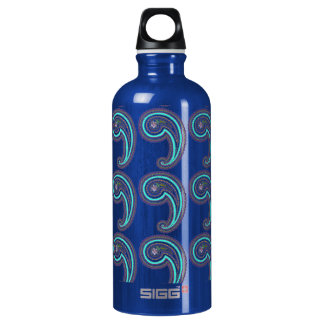 Colorful Purple Teal Vintage Paisley Grass Green Water Bottle
