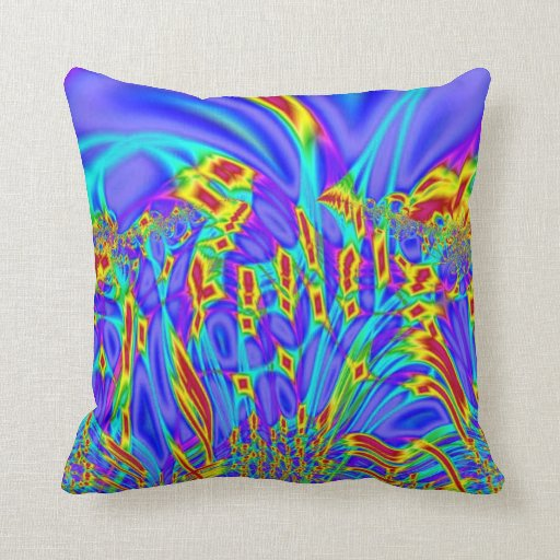 Colorful purple turquoise abstract throw pillow