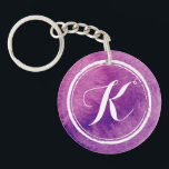 "Colorful Purple Watercolor Monogram | Keychain<br><div class=""desc"">A vibrant purple watercolor background and calligraphy script monogram are featured on this keychain...  On the reverse side you can add your contact number in case you lose your keys!</div>"