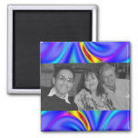 colorful purple yellow photo frame refrigerator magnet