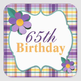 Colorful Purple Yellow Plaid 65th Birthday Sticker