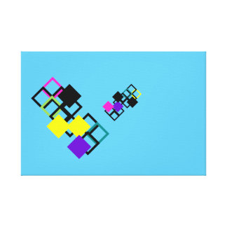 Colorful Purple Yellow Square Mix Pattern Canvas