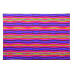 colorful purple yellow stripes placemats