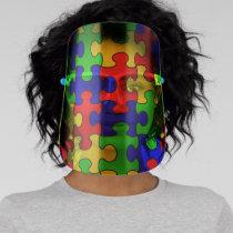 Colorful Puzzle Face Shield