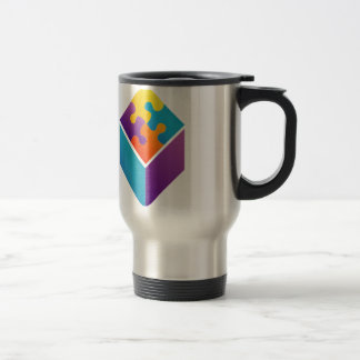 Colorful puzzle in a cube 15 oz stainless steel travel mug