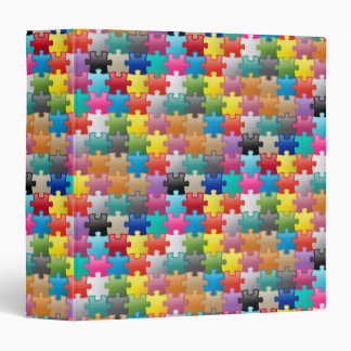 Colorful puzzle pattern 3 ring binder