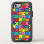 """Colorful Puzzle Pattern Autism Awareness ASD OtterBox Defender iPhone 8/7 Case<br><div class=""""desc"""">&#169; Cindy Bendel All Rights Reserved.</div>"""
