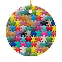 Colorful puzzle pattern ceramic ornament