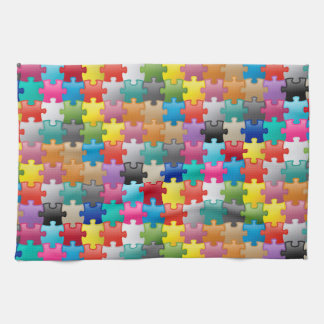 Colorful puzzle pattern hand towel