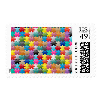 Colorful puzzle pattern postage