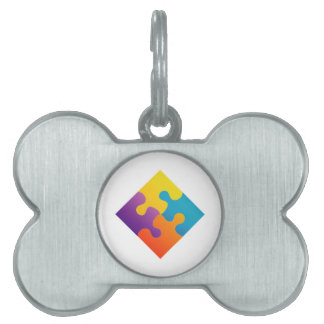 Colorful puzzle pet name tag