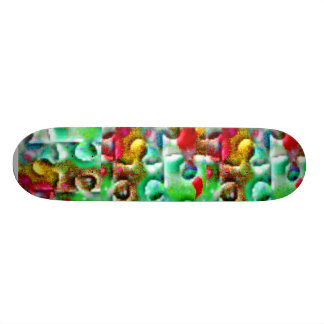 Colorful Puzzle Pieces Abstract Skateboard