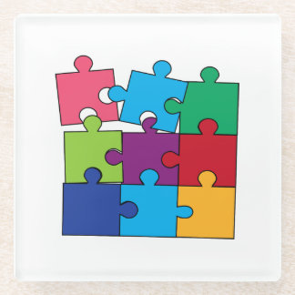Colorful puzzle pieces glass coaster