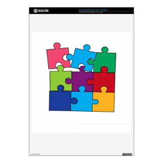Colorful puzzle pieces PS3 slim decals