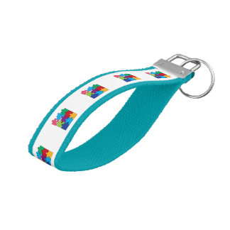Colorful puzzle pieces wrist keychain