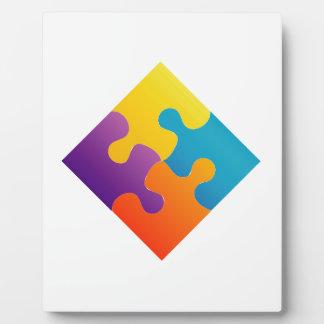 Colorful puzzle photo plaques