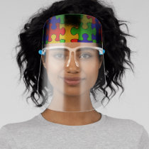 Colorful Puzzle (Top Only) Face Shield