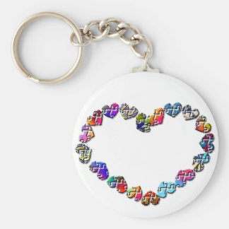 Colorful Puzzler Heart Keychain
