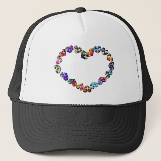 Colorful Puzzler Heart Trucker Hat