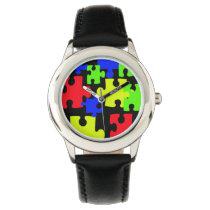colorful puzzles cute kids design wrist watch