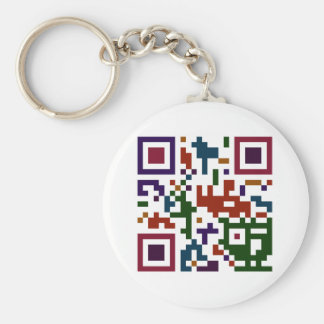 Colorful QP Code Basic Round Button Keychain