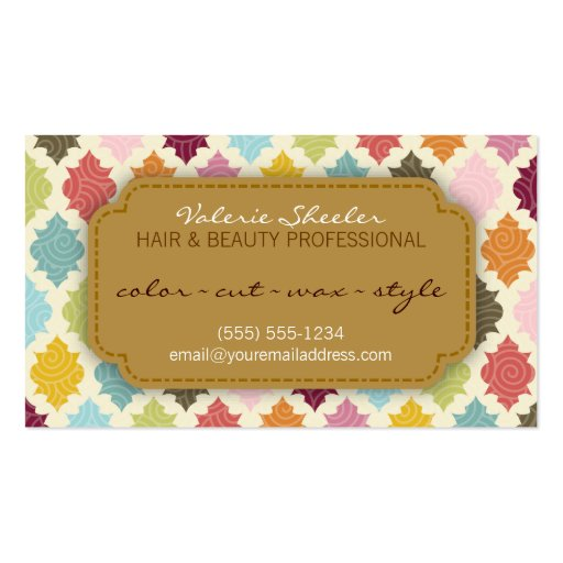 Colorful Quatrefoil Hair & Beauty Appointment Card Business Card