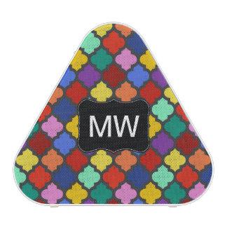 Colorful Quatrefoil Lattice Trellis Monogram Speaker