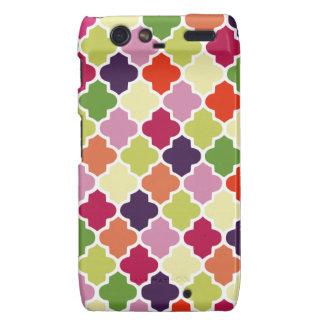 Colorful quatrefoil pattern motorola droid RAZR cover