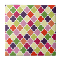 Colorful quatrefoil pattern ceramic tile