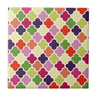 Colorful quatrefoil pattern ceramic tile
