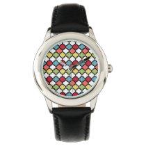 colorful quatrefoil pattern design watch