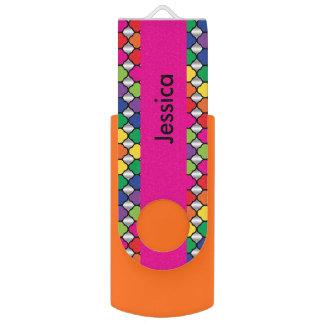 Colorful Quatrefoil Pattern | DIY Name Flash Drive