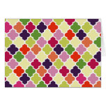Colorful quatrefoil pattern greeting card