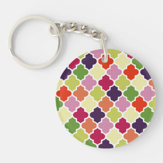 Colorful quatrefoil pattern Double-Sided round acrylic keychain