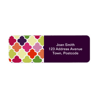Colorful quatrefoil pattern return address label