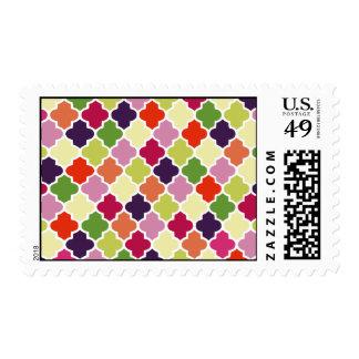 Colorful quatrefoil pattern postage
