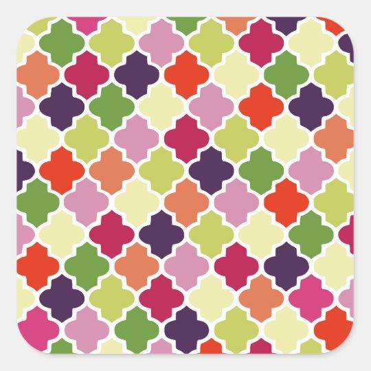 Colorful quatrefoil pattern square sticker