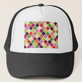 Colorful quatrefoil pattern trucker hat