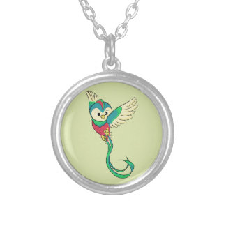 Colorful Quetzal! Silver Plated Necklace
