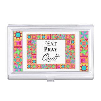 Colorful Quilt Blocks Border Art Eat Pray Quilt Case For Business Cards