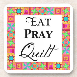 Colorful Quilt Blocks Border Art Eat Pray Quilt Drink Coasters